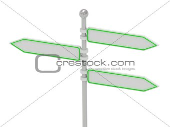 3 Directional signs in different directions