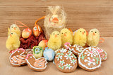 easter decoration, ginger bread, chicken and painted eggs