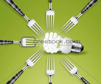 Forks around light bulb