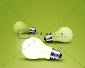 one glowing Light bulb