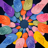 Colorful Flip Flops on circle shape