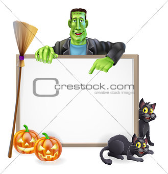 Frankenstein Halloween Sign