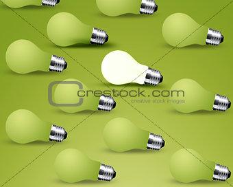 one glowing Light bulb