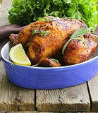 roasted chicken with herbs (thyme and sage)