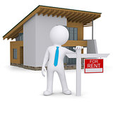White 3d human and small house with sign a lease