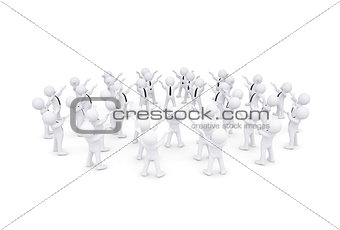 Group of white 3d people raised their hands