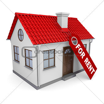 Small house with a label for the rent