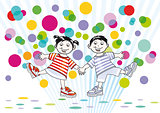two children and colorful dots