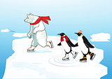 Polar bear and penguin ice skating