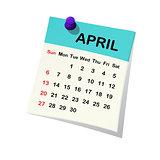 2014 calendar for April.