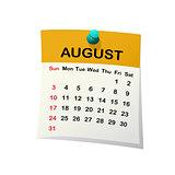 2014 calendar for August.