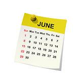 2014 calendar for June.