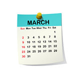 2014 calendar for March.