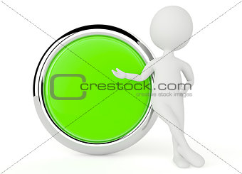 3d humanoid character present a button