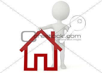 3d humanoid character with a red house