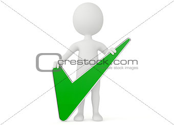3d humanoid character with a checkmark sign