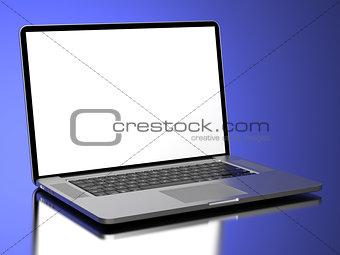 Modern Laptop on a blue background.