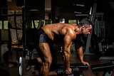 male bodybuilder doing heavy weight exercise for back