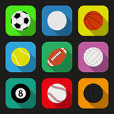 Sport balls flat icons set. EPS10 vector illustration.