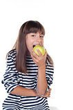 happy cute girl with apple on white background