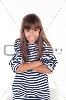 Portrait of a beautiful little girl with folded hands