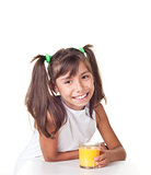 Cute little girl whith orange juice