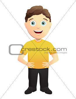 Mascot character in a Yellow T-shirt
