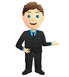 Smiling Businessman Hand Gesture