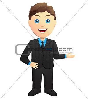 Smiling Businessman Hand Gesture