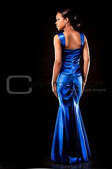 black woman in evening gown