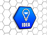 idea and light bulb symbol in blue hexagon