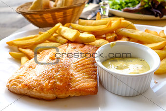 grilled salmon and fries