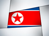 North Korea Country Flag Geometric Background