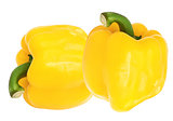 yellow sweet  bell pepper isolated on white background