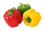 Red green and yellow sweet  bell pepper isolated on white backgr