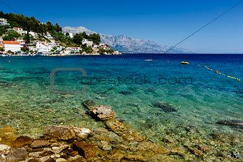 Beautiful Beach and Transparent Turquoise Adriatic Sea near Spli