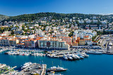 Aerial View on Port of Nice and Luxury Yachts, French Riviera, F