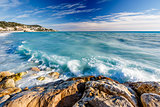 Azure Sea and Beuatiful Beach in Nice, French Riviera, France