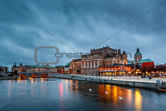 Illuminated Stockholm Royal Opera in the Evening, Sweden