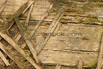 Fragment of an old wooden walls