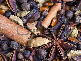 background from spices for mulled wine