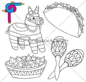 Coloring image Mexico collection 02