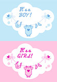 baby boy and girl, vector background