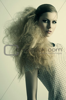 fashion model with strange hair-style
