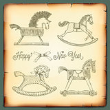 New Year card with rocking toys horses, vector Eps10 image.