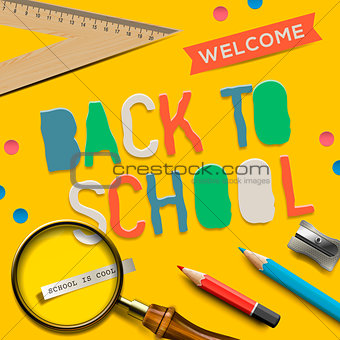 Back to school on yellow background, vector Eps10 illustration.