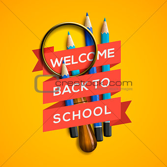 Back to school with supplies on yellow background, vector Eps10 illustration.