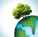 Green tree and globe.