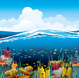 Seascape with underwater creatures and blue sky
