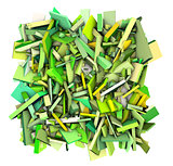 3d abstract fragmented shapes green yellow